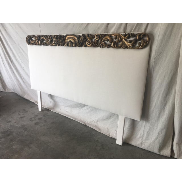 Italian Upholstered Headboard With 19th C Gilt Fragment Accents For Sale In Austin - Image 6 of 11
