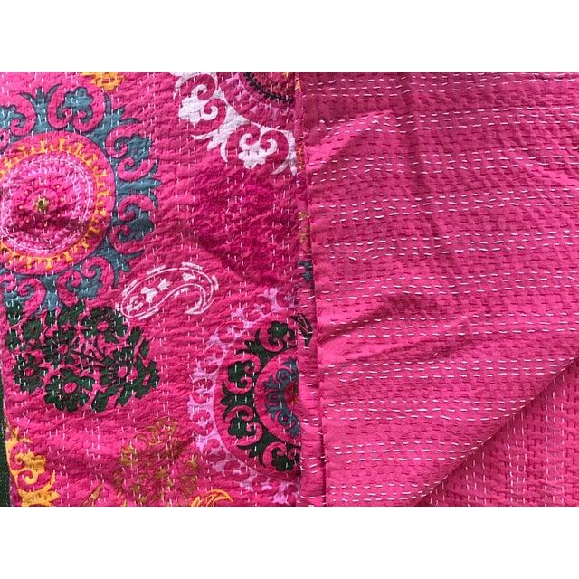 Indian Pink Kantha Blanket Throw - Image 4 of 5