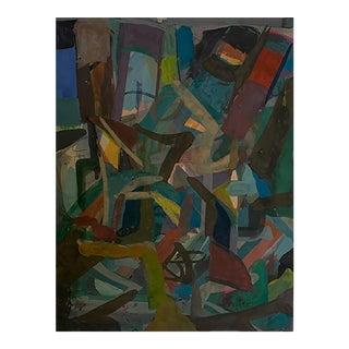 Josef Presser Abstract Composition Ship Yard Framed For Sale