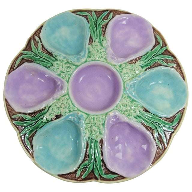 Traditional 19th Century Victorian Majolica Turquoise and Pink Oyster Plate For Sale - Image 3 of 3