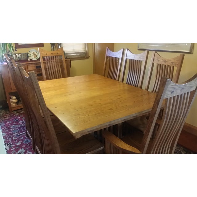 Solid Quatersawn Oak Mission-Style Dining Set - Set of 9 For Sale - Image 9 of 13