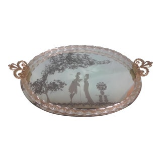 Venetian Etched Glass Mirrored Tray , Vintage 1940's For Sale
