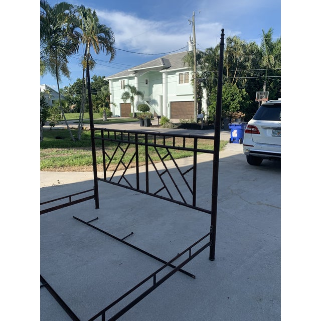 Vintage Chinese Chippendale Faux Bamboo Metal King Bed Frame For Sale - Image 6 of 10