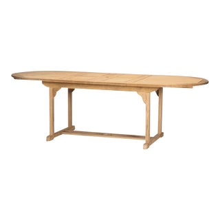 January Oval Teak Outdoor Dining Table with Double Extensions For Sale