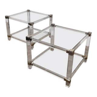 French Chrome and Lucite End Tables - a Pair For Sale
