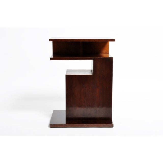 Contemporary Hungarian Walnut and Maple Veneer Side Table With Shelves For Sale - Image 3 of 13