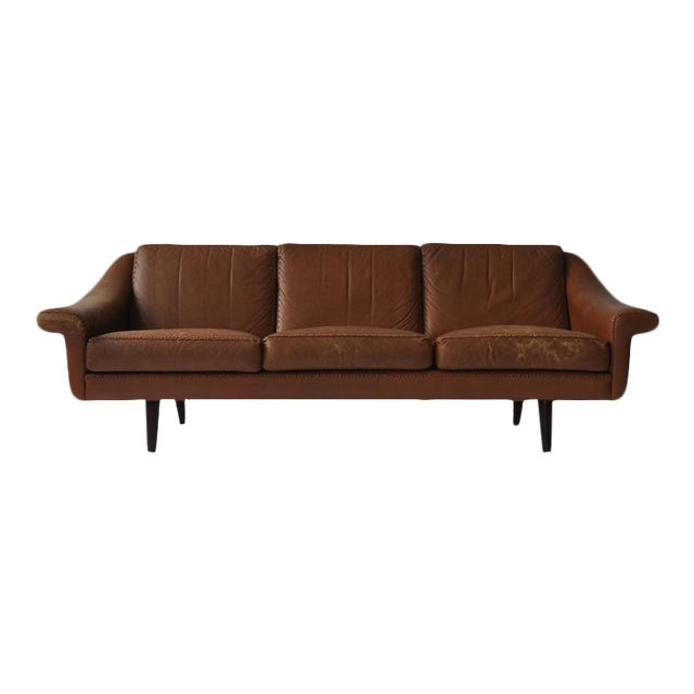 Aage Christiansen Danish Leather Sofa, 1960s For Sale
