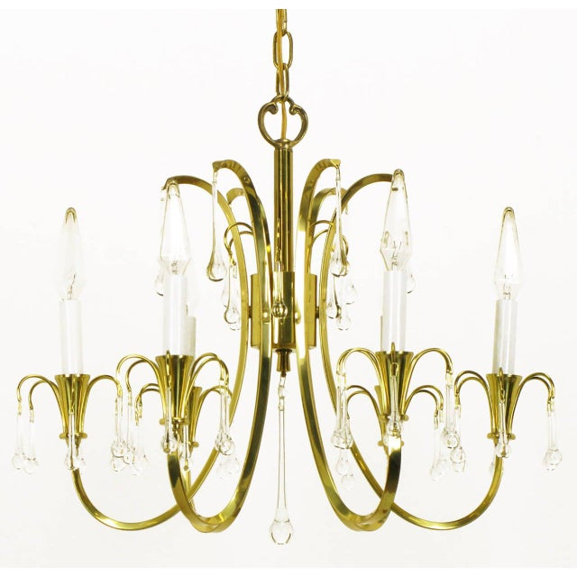 Modern Modernist Brass Chandelier With Raindrop Crystals For Sale - Image 3 of 8