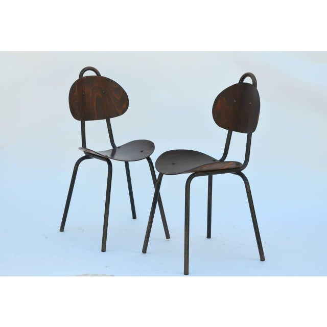 Pair of Unique French Industrial Bentwood Side Chairs For Sale - Image 10 of 10