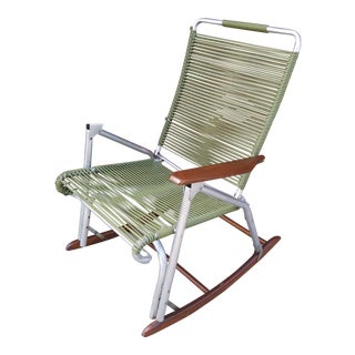 Vintage Folding Aluminum Rocking Chair by Telescope Furniture For Sale