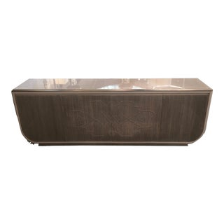 Pregno Contemporary Silver Leaf Inlay Credenza For Sale
