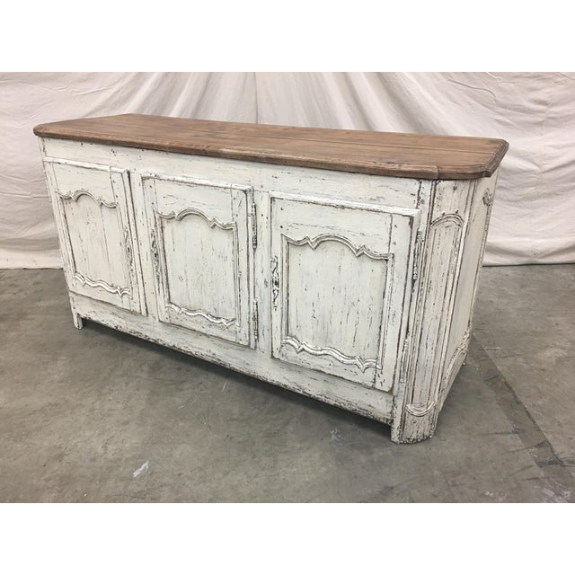 Wood 18th C French Provencal Three Door Painted Enfilade Sideboard For Sale - Image 7 of 13