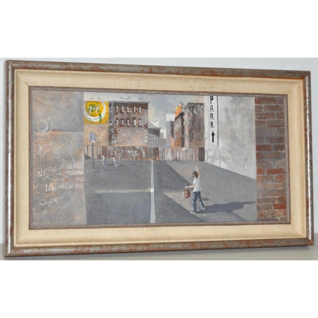 Impressionism Inner City Basketball Court Oil Painting c.1970s For Sale - Image 3 of 9