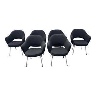 1970s Knoll Saarinen Black Original Knoll Fabric Arm Chairs - Set of 6 For Sale