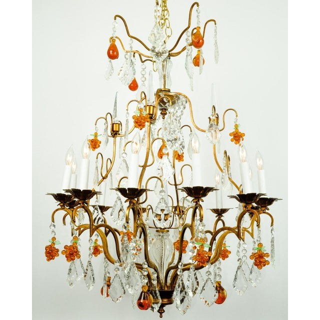 Late 20th Century Venetian Murano Crystal Fruit Design Chandelier For Sale - Image 5 of 11