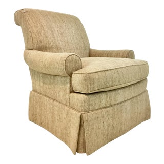 William E. Poole for Hickory Chair Transitional Raw Silk Whitley Club Chair For Sale