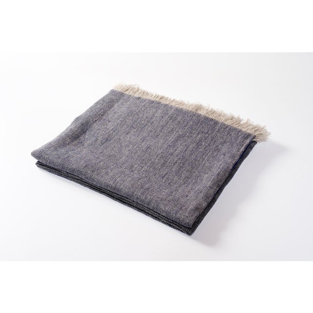 2010s Contemporary Denim Linen Throw For Sale - Image 5 of 5