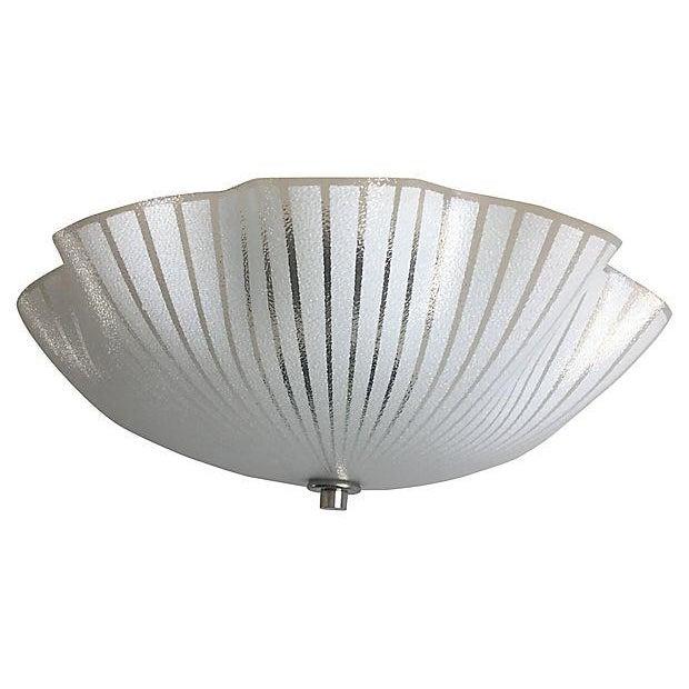 1950s Ruffled Glass Flush Light For Sale - Image 4 of 8