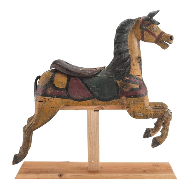 19th Century Charles Dare American Hand Painted & Carved Carousel Horse Figure For Sale