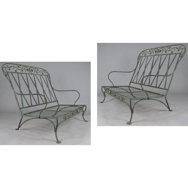 Wrought Iron Settees by Salterini, Circa 1950 - a Pair For Sale - Image 9 of 11