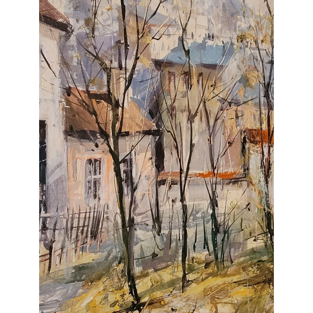 1960s 1960s French Impressionist Style Rural Scene Oil Painting by Lucien Delarue, Framed For Sale - Image 5 of 6