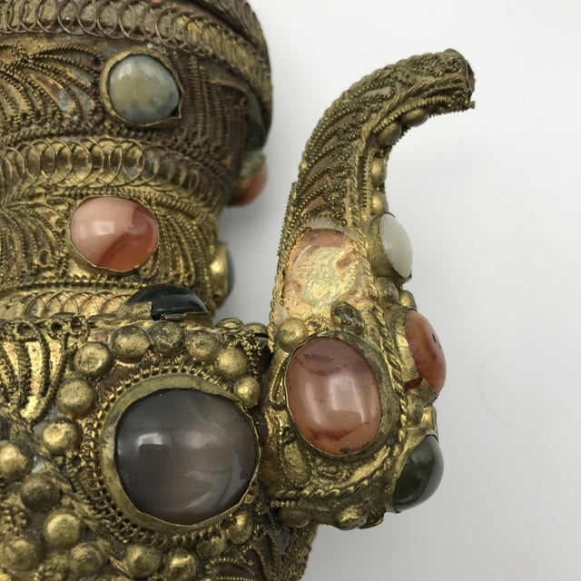 Antique 19th Century Tibetan Copper and Gold Filigree Flagon With Polished Agate Gemstones - Image 5 of 10