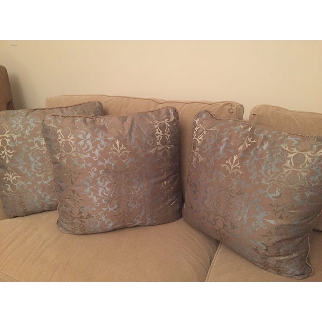 Contemporary Baker Silk Jacquard Pillows - Set of 3 For Sale - Image 3 of 6