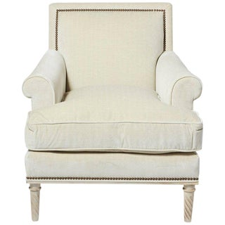 Schumacher Jansen Strié Velvet Oyster Nailhead Trim Maplewood-Leg Sock Arm Chair For Sale
