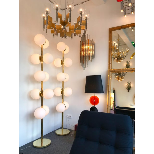 Contemporary Brass Floor Lamps Opaline Ball, Italy For Sale - Image 9 of 13