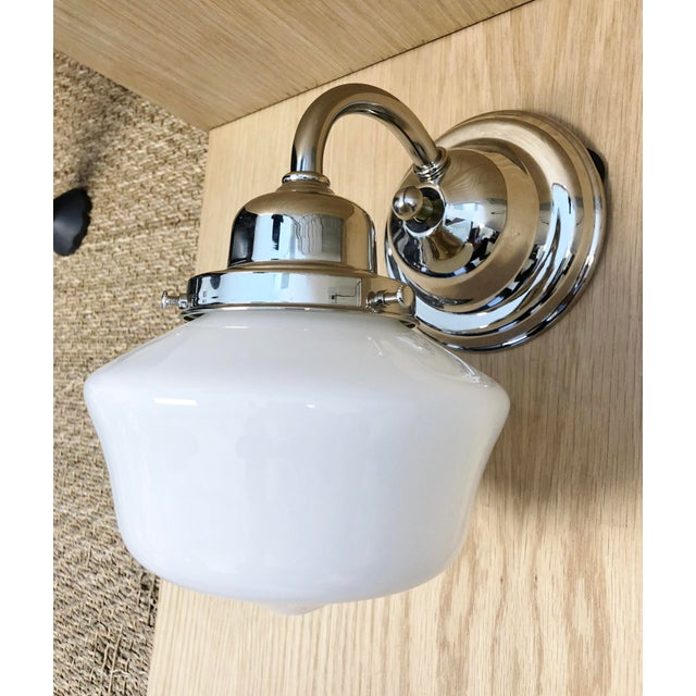 Hudson Valley School House Milk Glass Shade & Nickel Wall Sconce For Sale - Image 4 of 4