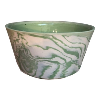 Small Marbled Green Serving Bowl For Sale