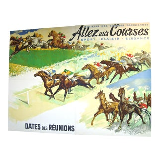 Rare Giant Original French Horse Racing Poster, circa 1930s