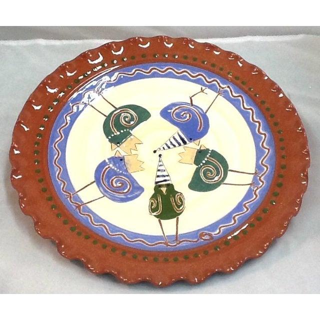 Handmade Pottery Tray. Signed Pottery Tray. Vintage Pottery Plate. Chicken-Imagery Pottery Tray - Image 2 of 5