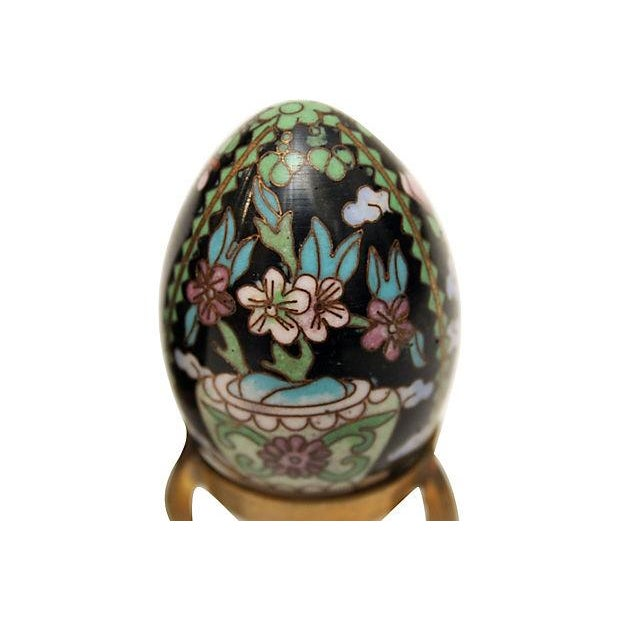 Cloisonne Eggs on Brass Display Stands - A Pair - Image 6 of 6
