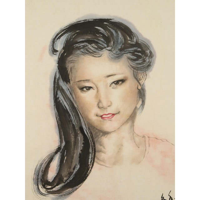 Chinese Chinese Portrait of a Woman on Scroll For Sale - Image 3 of 5