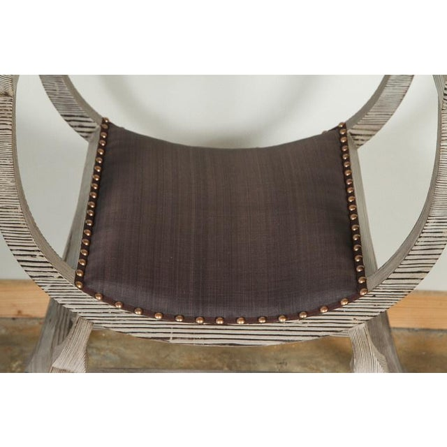 Customizable Paul Marra Distressed Fir Bench in Brown Horsehair - Image 6 of 7