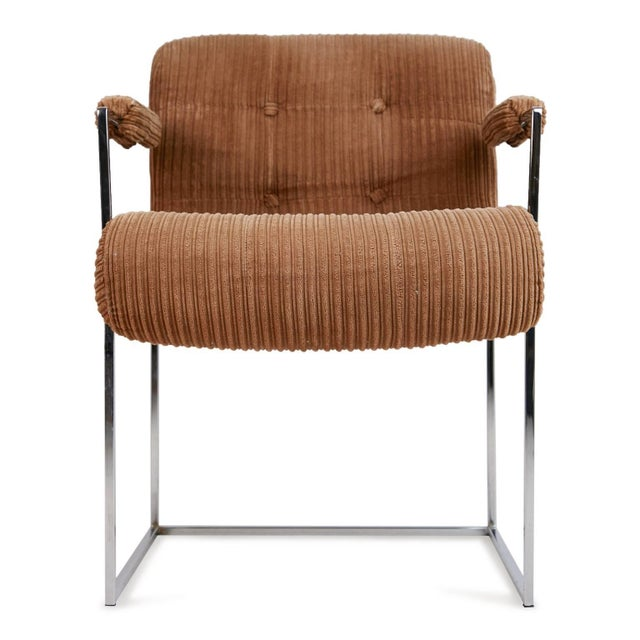 Set of two Milo Baughman Thinline dining or side chairs designed for Thayer Coggin. These elegant armchairs feature a...