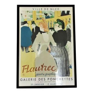 Framed Henri Toulouuse Lautrec French Lithograph For Sale