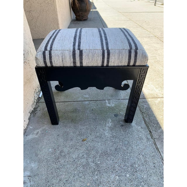 This mid 20th century stool has been reimagined with vintage striped Turkish textile upholstery and a fresh black finish....
