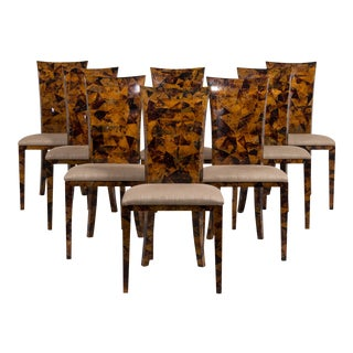 A Set of Eight Coconut Shell Veneered Dining Chairs 1980s For Sale