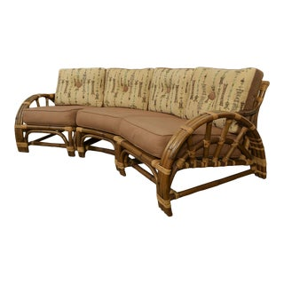 1950s Vintage Calif Asia Bamboo and Rattan Modular Sofa For Sale
