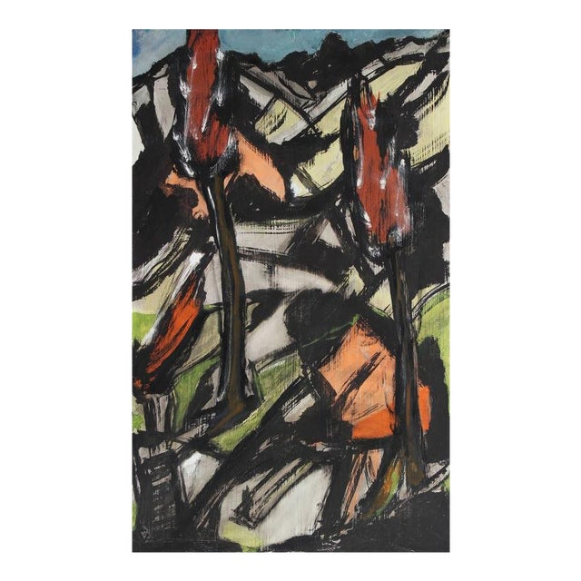 Expressionist Landscape Painting, Circa Late 1940s For Sale