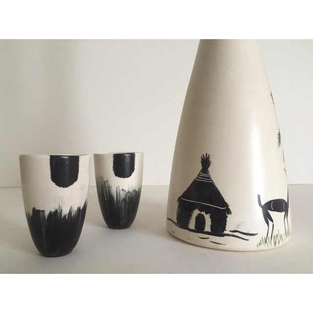 Ceramic Vintage African Black & White Handcrafted Pottery Decanter Bottle & Cups - 4 Piece Set For Sale - Image 7 of 10