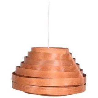 Mid-Century Modern Scandinavian Teak & Pine Hanging Lamp For Sale