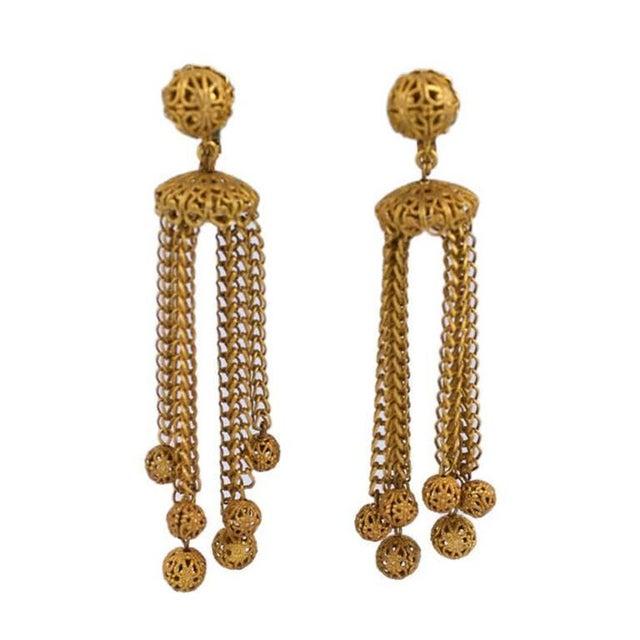 Mid-Century Modern Miriam Haskell Filigree Ball Long Runway Earrings For Sale - Image 3 of 3