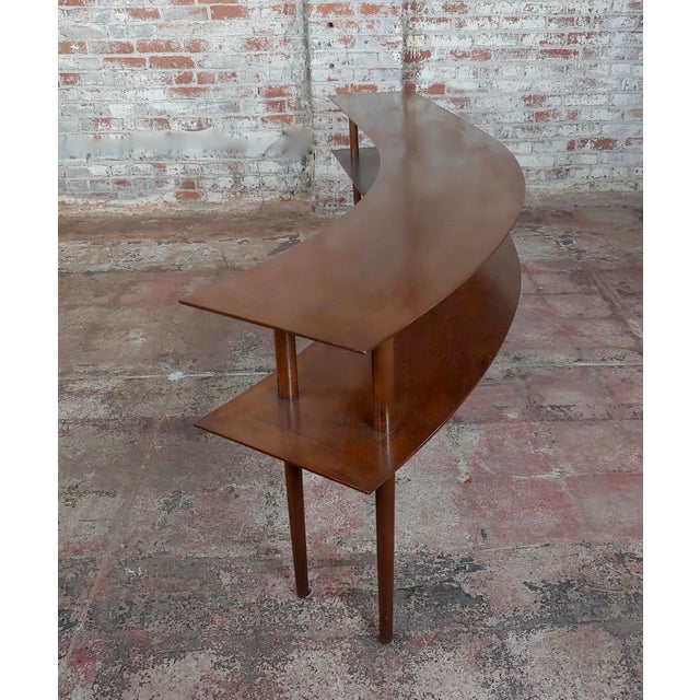 1960s 1960s Mid-Century Modern Walnut Two Tier Curvy Console For Sale - Image 5 of 12