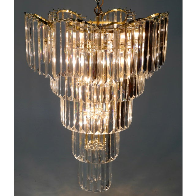Gold Murano Style Lucite Waterfall Chandelier For Sale - Image 8 of 9