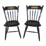 Image of Ethan Allen Hitchcock Style Ebonized Arrow Back Side Chairs - a Pair For Sale