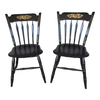 Ethan Allen Hitchcock Style Ebonized Arrow Back Side Chairs - a Pair For Sale