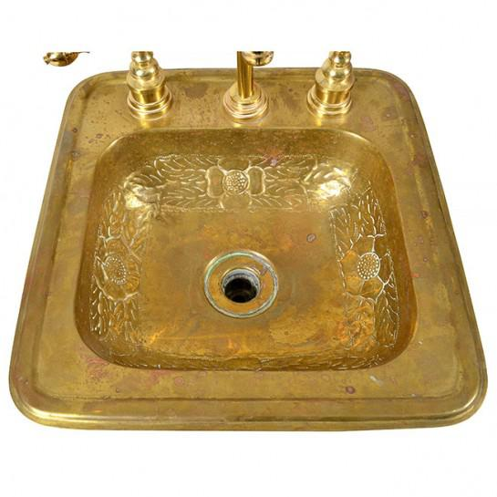 1920s Art Deco Brass Sink For Sale In Houston - Image 6 of 12